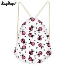 NOISYDESIGNS High Quality Drawstring Bag For Desigual Ladybug Small Children Backpacks Girls Boys Daily Sport Bags