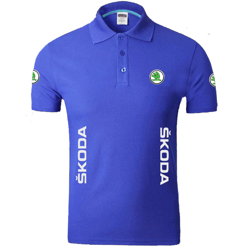Skoda logo   Polo   Shirts Men Desiger   Polos   Cotton Short Sleeve shirt Clothes jerseys   Polos