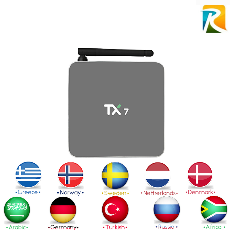 TX7 Royal IPTV with 1730+ livetv Arabic Europe channels Android 6.0 Amlogic S905X Quad core 2/32G Android TV Box HDMI H.265 askent s 7 1 tx