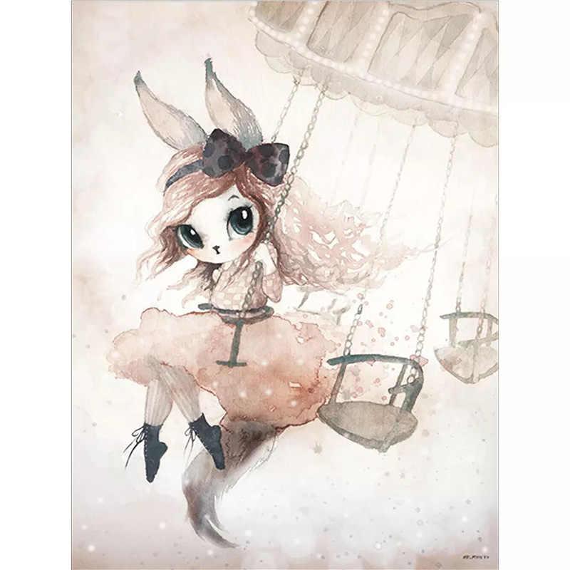 Детские интерьер для комнаты девушки Wall Art Холст Картина Детская украшения Северный плакат фотографии детей для Гостиная принт подарок без рамы