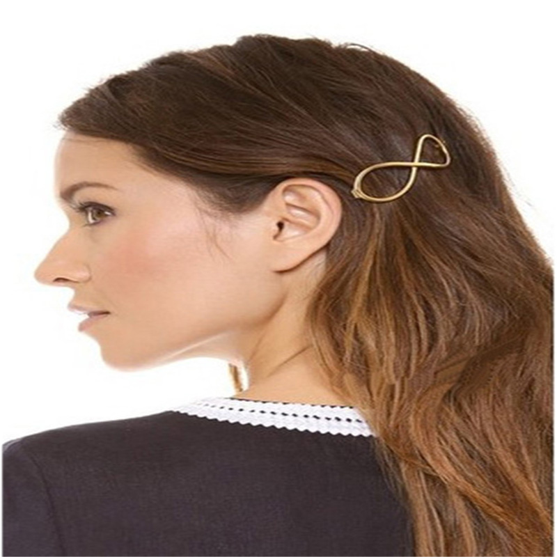 Gold Pattern 100% f327 Hair Jewelry Fashion Lady Personality Digital 8 Hairpin Lucky 8 Word Hair Ornament 2018 New Wholesale