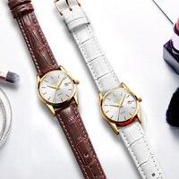 OLEVS Amantes Homens Relógio Automático Clássico Rosa de Ouro Pulseiras De Couro Casal Relógios Das Mulheres Relógio de Pulso Reloj Hombre 1 PCS Preço