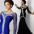 Abendkleider Special Design Bling Crystal Mermaid Prom Dress Black Crystal Royal Blue Mermaid Long Sleeve Evening Dresses
