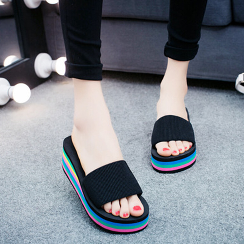 KHTAA Women Non-slip Rainbow Leopard Ethnic Wedge Thick sole Summer Slippers Casual Comfortable Platform Beach Shoes For Ladies