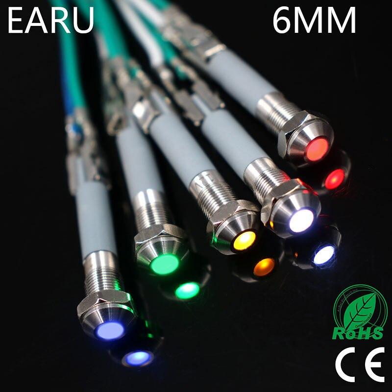 6mm LED Metal Indicator Light Waterproof IP67 Signal Lamp 3V 5V 6V 9V 12V 24V 110V 220v Red Yellow Blue Green White Pilot Seal