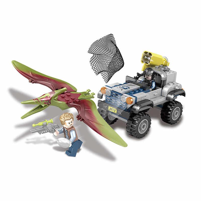 Novo Mundo Jurássico Parque Dinossauro Raptor Helicóptero Caminhão Do Carro de Captura Legoings Modelo Building Blocks Brinquedos Para Crianças Presente
