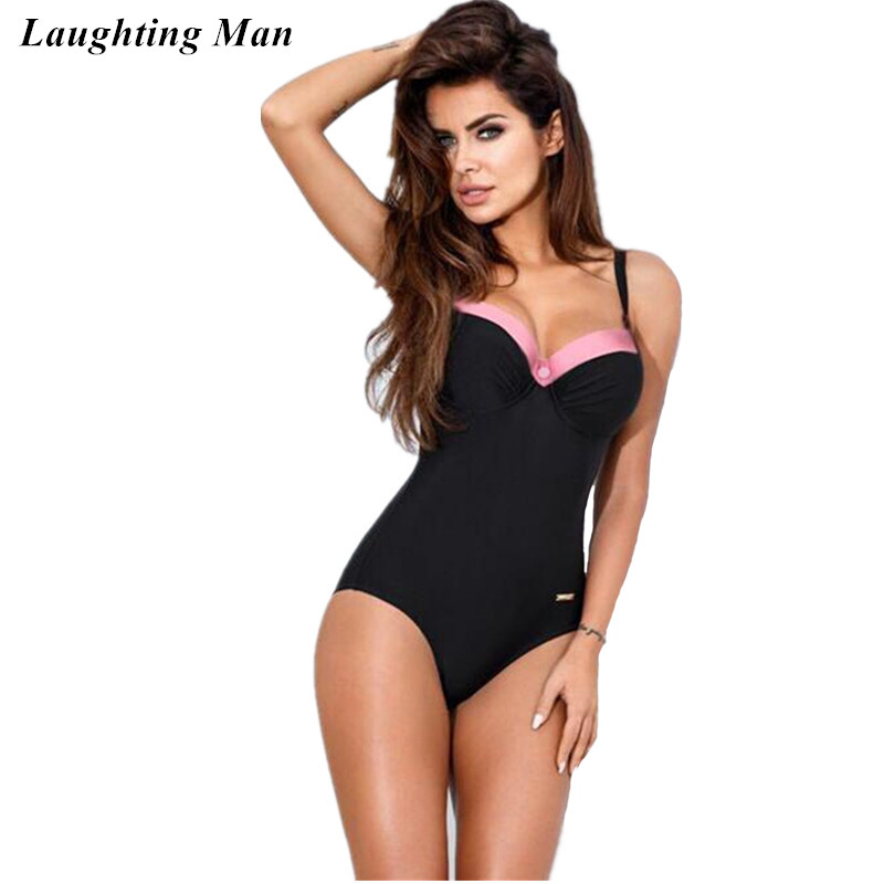 Laughting Man 2017 New Plus Size One Piece Button Women Swimwear Summer Beach Bathing Suits Biquini Swimming Suit Monokini YJ142 one piece swimsuit cheap sexy bathing suits may beach girls plus size swimwear 2017 new korean shiny lace halter badpakken