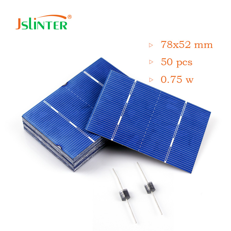 Solar Cells 50 pcs Diy 12v Solar Panel Module China Price Cheap Poly Cell With 2 Pcs Diode Direct Selling 78x52 0.75w ...