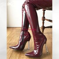 Lethal 12cm Silver Metal Heel 60cm Custom Crotch Show Boot Patent Burgundy Thigh High Boots Women Pointed Toe New 2018