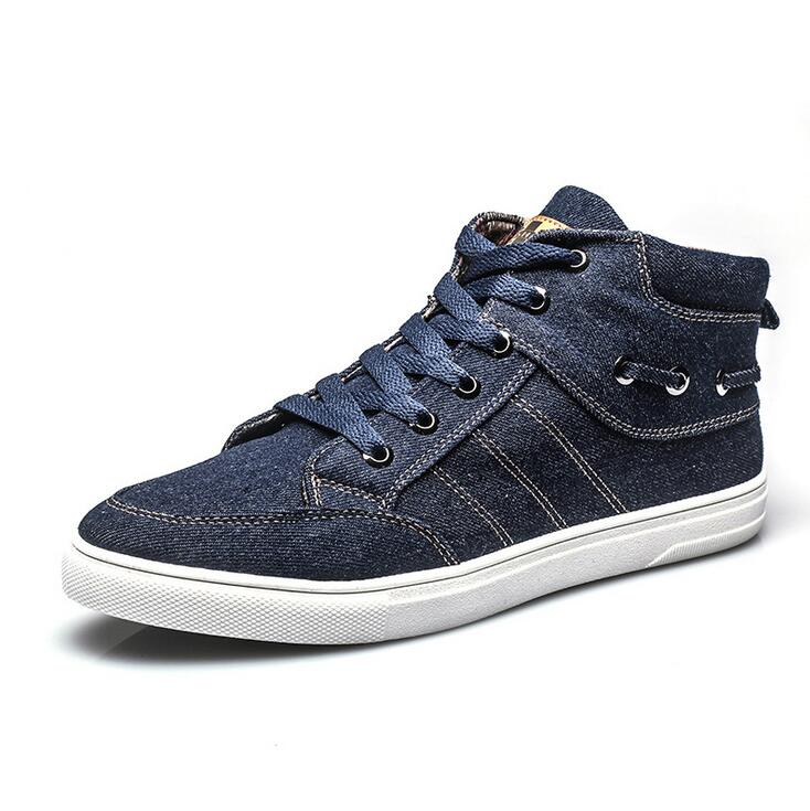 New Arrival Men Shoes 2016 Spring High Top Brand Canvas shoes Mens High Quality Denim Shoes zapatos de los hombres Casual Shoes