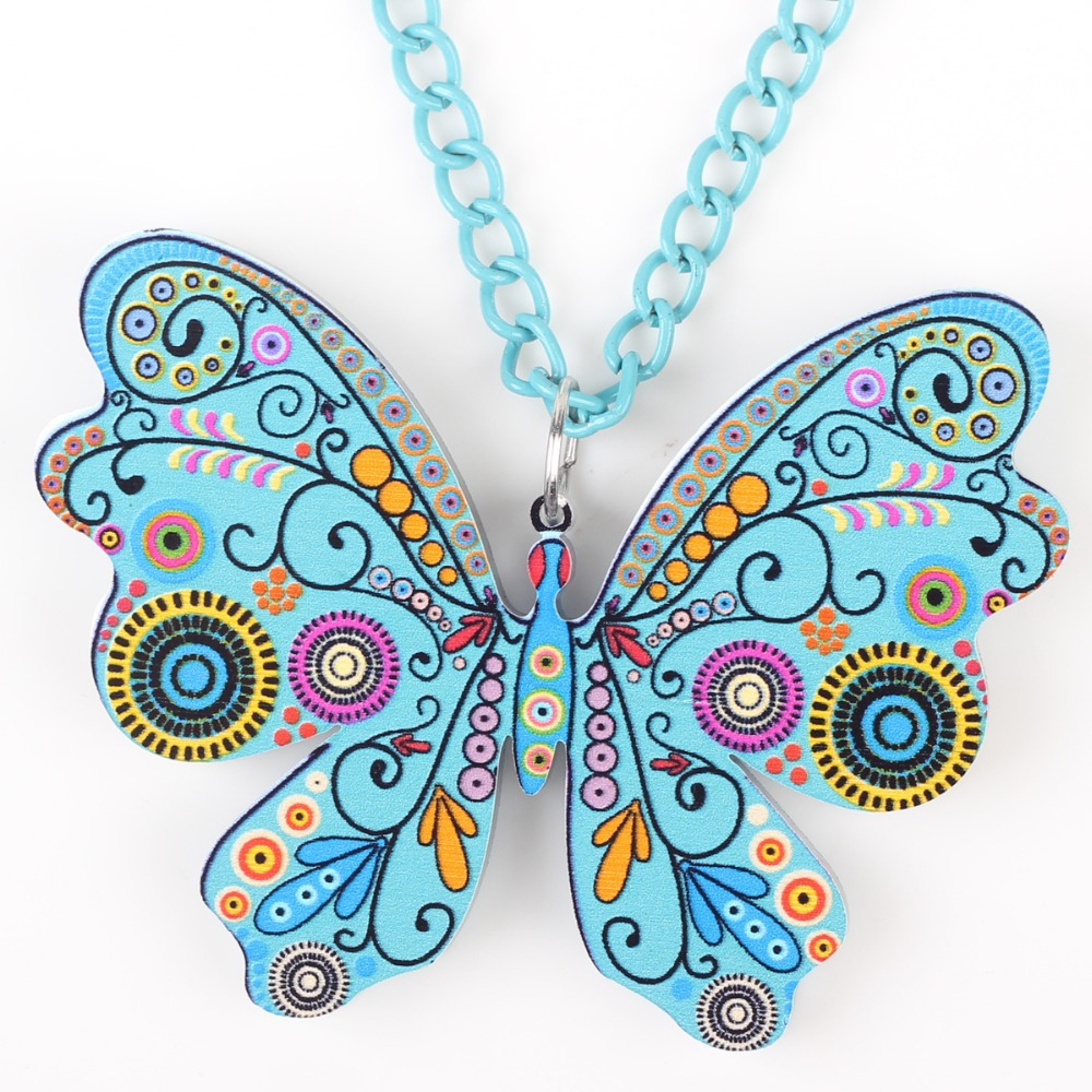 Bonsny papillon collier pendentif long motif acrylique chaud - Bijoux fantaisie - Photo 4