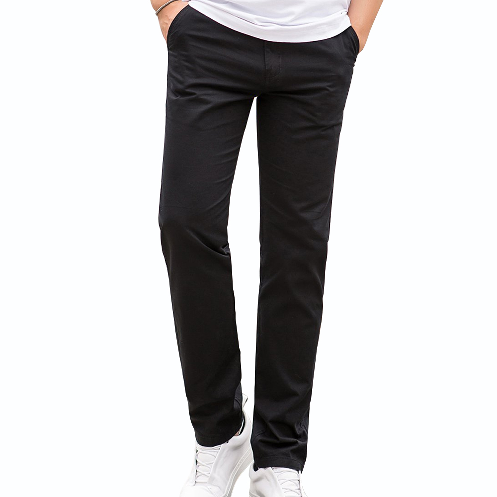 Beverry 100% Cotton Men Chino Pants Straight Flat-Front Casual Pant men lightweight Trousers