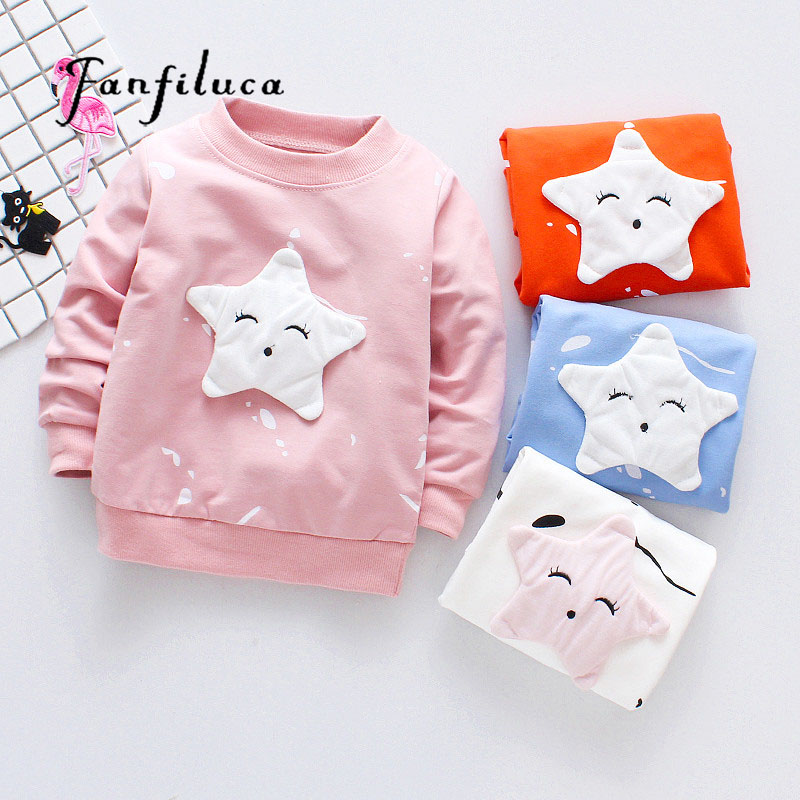 Fanfiluca 2018 Cotton Girls T shirts For Baby Girl Spring Long Sleeve Kids Choths Blouse Smile Star Style T-shirts Free Shipping