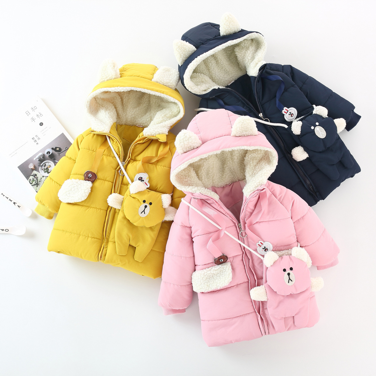Girls Coat Autumn Winter Coat Long Sleeve Section of The New Cotton Padded Jacket For Girls Yellow 1-4 Years with Bag Fashion браслеты