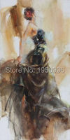 Top Artist High Quality Modern Abstract Black Skirt Dancing Girl Modern Dance Oil Painting Canvas Oil Painting Wall Decoration