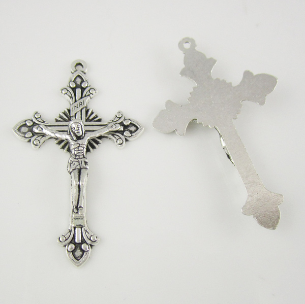 100pcs of 2 Inches Religious Antique Silver Rosary Crucifix Cross Pendant