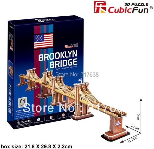 3D puzzle BROOKLYN BRIDGE building model middle size ,  educational DIY toys, free shipping.