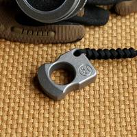 EDC Titanium Alloy Multipurpose Single Holes Tools Meteorite Keychain Outdoors Self defense Ring Tools