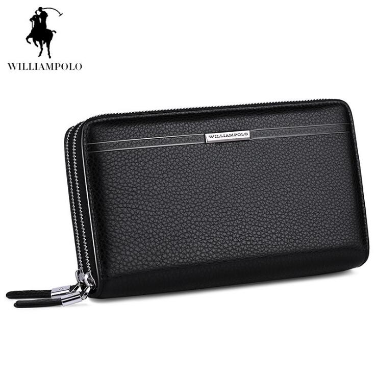 Williampolo Men Hand bag Genuine leather Business Men's Wallet Cowhide Double zipper Coin purse williampolo genuine leather men wallets business coin purse men hand bags zinc alloy zipper wallet