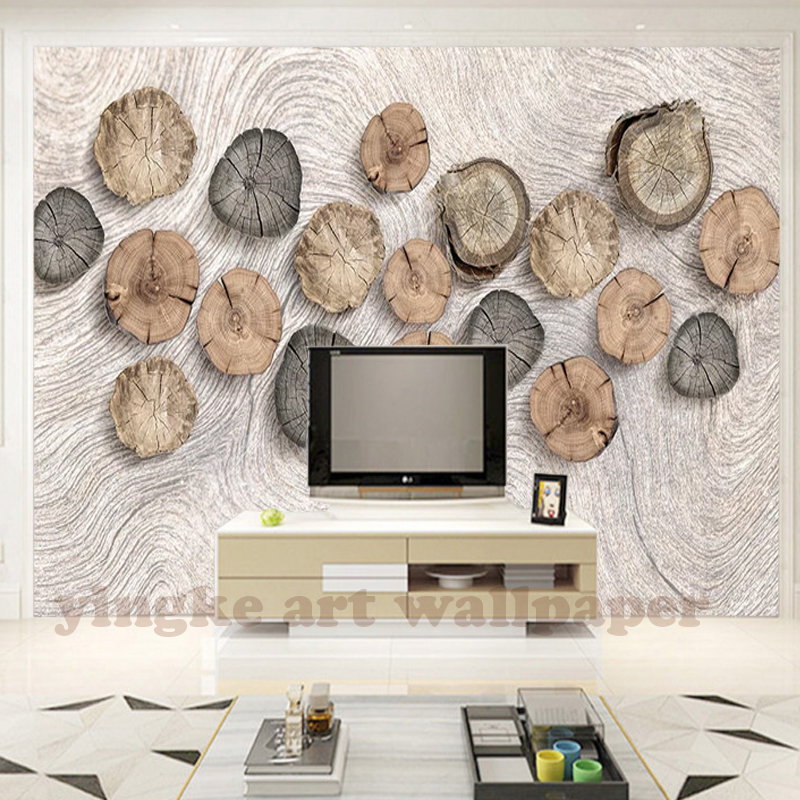 Stereoscopic 3d Photo Wallpaper Wood Growth Ring Wood Grain Retro