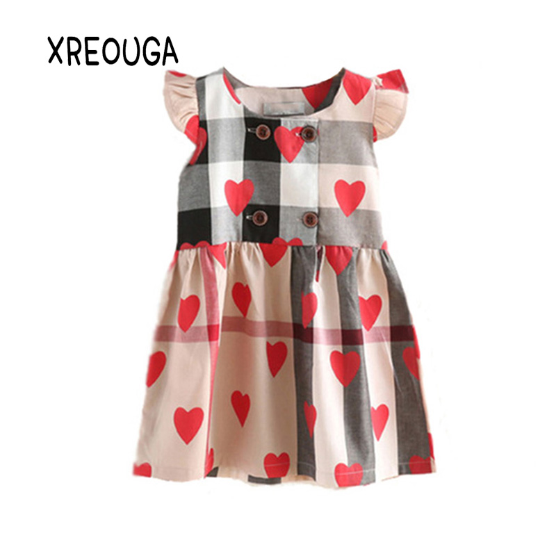 מוצר XREOUGA 2018Girl Dress Clothes Summer Red Heart