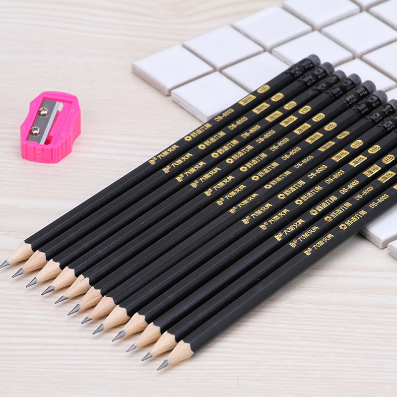 Image 2 - 72pcs standard carbon black pencil high quality solid color pen HB professional drawing pencil to send pencil sharpenerStandard Pencils   -
