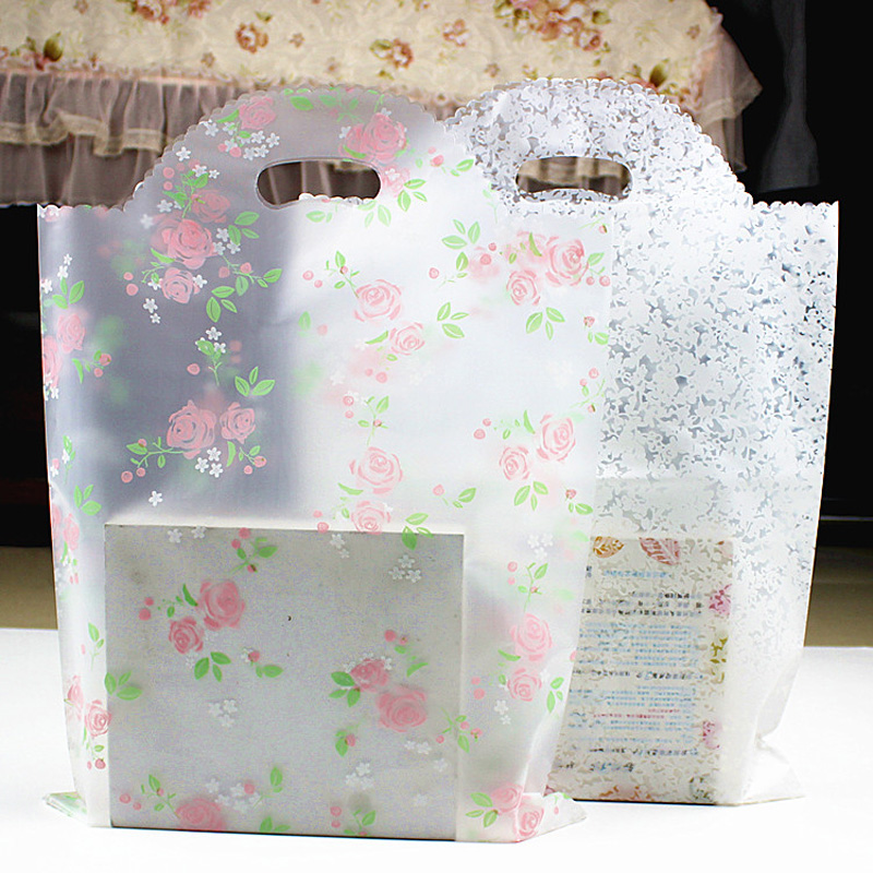 50pcs Lovely Floral Gift Bag Thicken Plastic Carry Bag