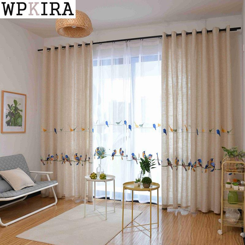 Cotton Linen Curtains For Living Room Bedroom Pastoral Curtain With Embroidery Birds White Tulle Sheer Window Curtain 432&30