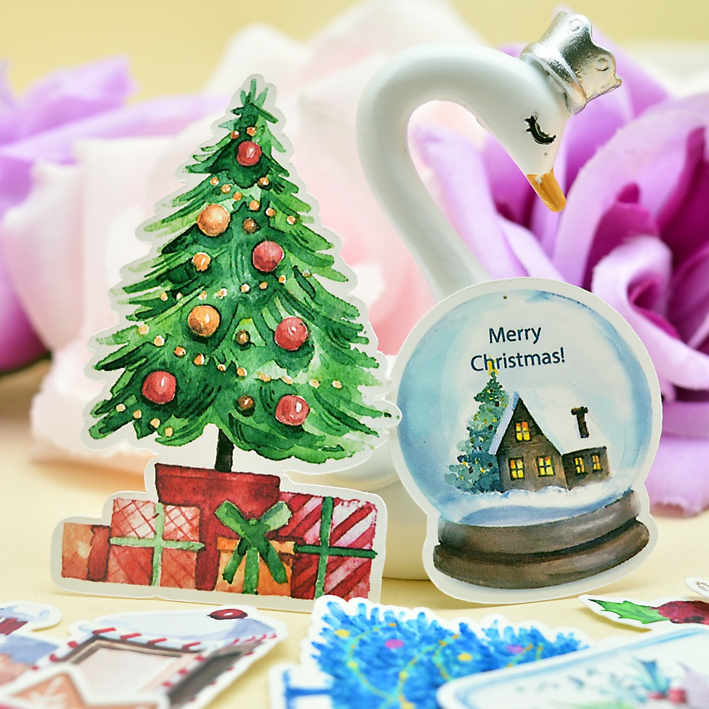 33pcs Hand Drawing New Year Colorful Christmas Gift Sticker Winter Snowman Notebook Planner Scrapbooking  Thin Paper Sticker