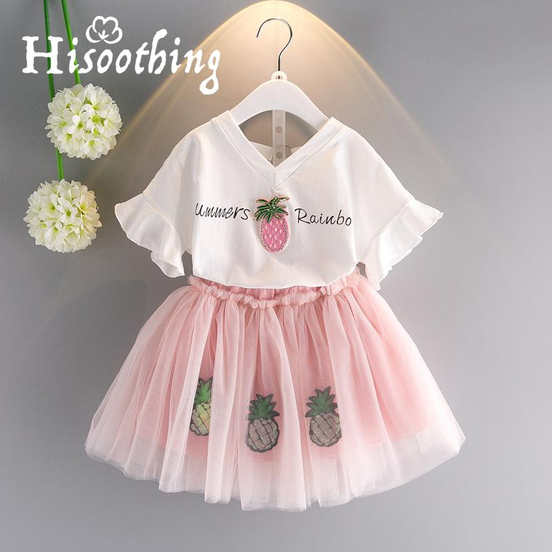все цены на Summer Girls Pineapple Yarn dress Set Flying Sleeve Print T-Shirt Sequin Ponce dress Two-piece Kids Wear Kids Set girls dress