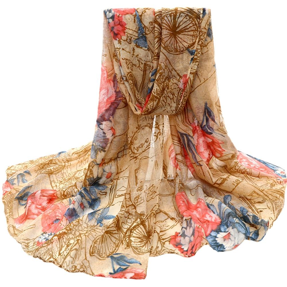 Flower Womens Voile Stole Scarves Long Neck Wraps Shawl Scarf foulard femme xale Foulard En Soie viscose scarf