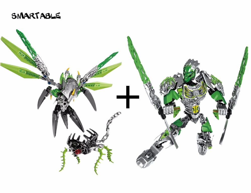 Smartable BIONICLE Uxar Creature Of Jungle+Lewa Jungle Keepter Building Block Toy Set For Boy Compatible All Brands 71300+71305