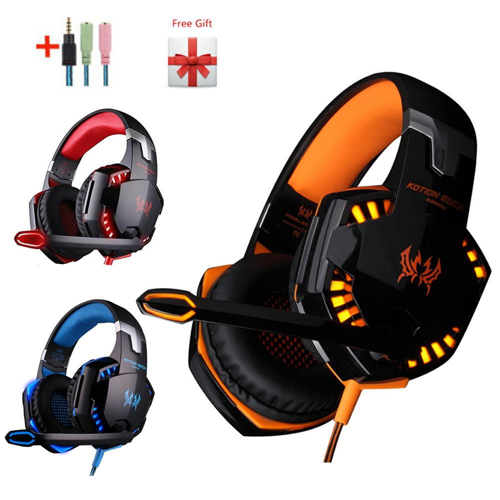 G2000 G4000 G9000 Gaming Headphones Deep Bass Wired Headsets with Mic Led Light Earphones for PS4 New Xbox Laptop PC Gamer