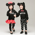 new 2015 autumn winter bow hooded+polka dot pants 2pcs boys clothing sets cartoon mouse girls kids pajamas for 2~7 age baby suit