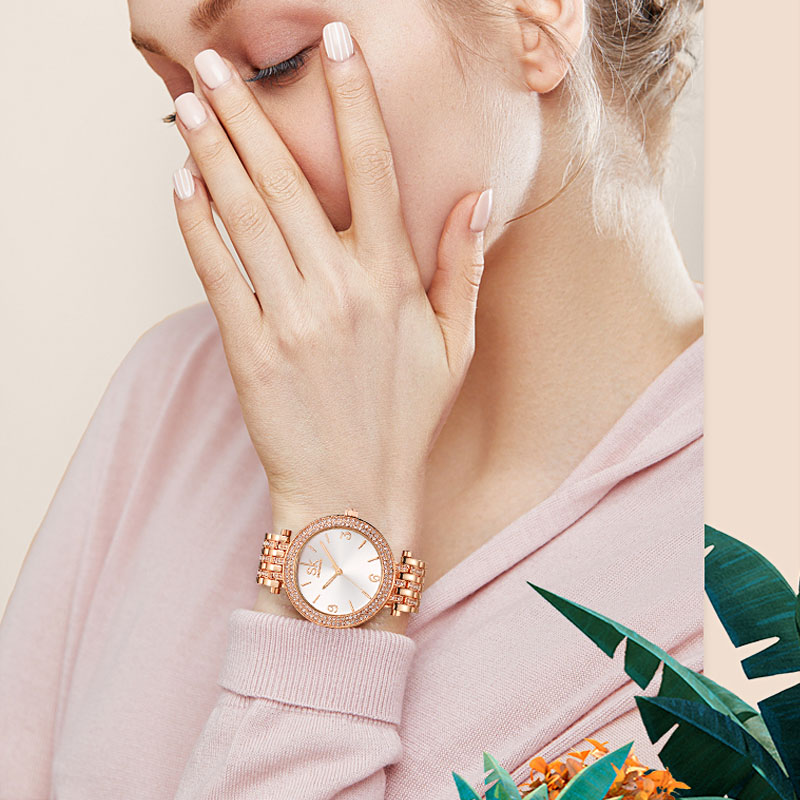 Image 4 - Shengke Creative Crystal Jewelry Set Ladies Quartz Watch 2019 Reloj Mujer Women Watches Earrings Necklace Set Women's Day Gift-in Women's Watches from Watches