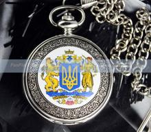 Ucrania gran de armas de plata para hombre negro reloj de bolsillo mecánico caja de regalo libre
