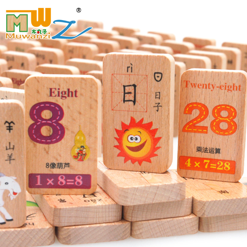 MWZ 100pcs Beech Wood Digital Fruit Chinese Characters Learning Wooden Domino Blocks Double-sided Printing Educational Toys холодильник lg gr d24fbglb черный