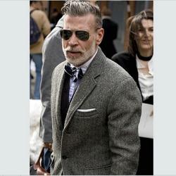 Donkergrijs tweed blazer mannen Wol Visgraat Britse stijl custom made Mens suit slim fit Blazer wedding suits voor mannen