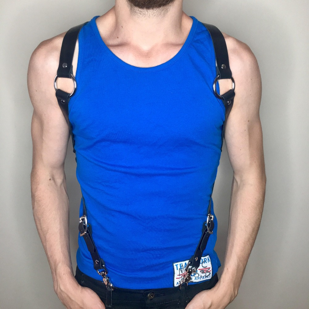 WKY Leather Harness Belt Men Suspenders Straps Hot Erotic Accessories Gay Fetish Wear Belts Adjustable Sexy Garters Punk Harness