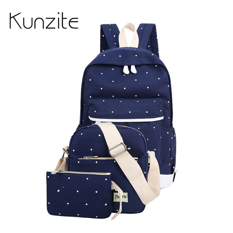 ee61a87ae502 3Pcs Sets Korean Canvas Printing Backpacks Book Bags Preppy Style School  Bags for Teenage Girls