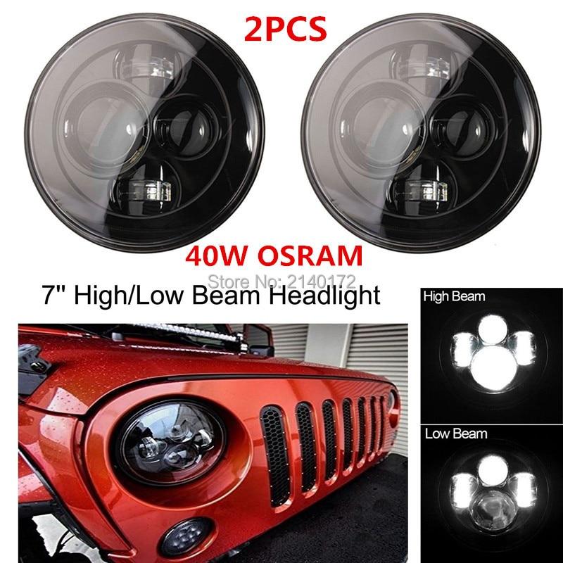 7INCH Round Harley LED H4 H13 Projector Daymaker Headlight for Jeep Wrangler JK CJ  Harley Davidson Motorcycles 40W