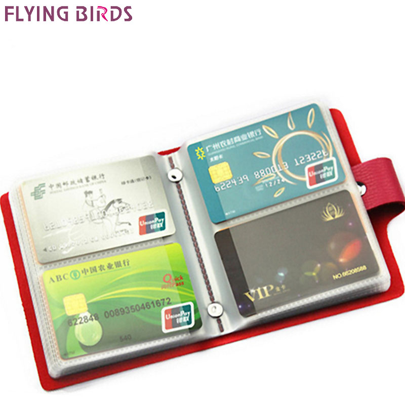 FLYING BIRDS card holder bag name ID Business Card Holder bag High Quality women &men Leather 60 Bank credit Cards Case LS8981fb baellerry double zipper women business card holder wallet oil wax leather purse female name bank credit cards driver license bag