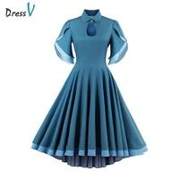Dressv Cheap Short Cocktail Dress A Line Elegant Formal Party Dress 2017 Short Sleeves Turquoise Tea