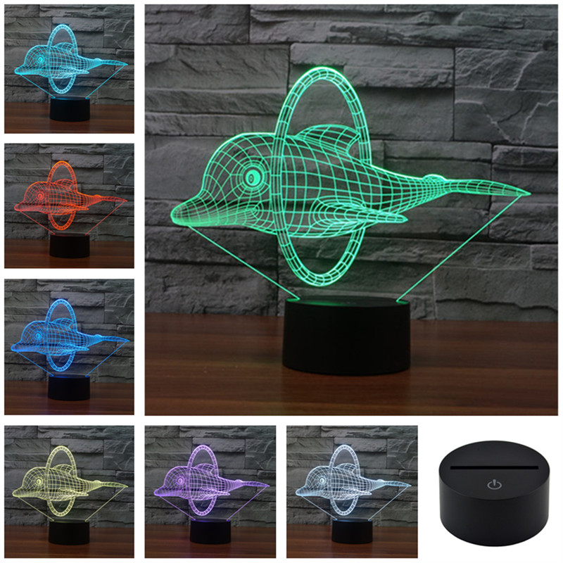 AUCD Colorful USB Dolphins Jump Ring Decoration Desk  Animation LED Table Lamp Child Night Lights Christmas Gift 3D-TD140 andy beane 3d animation essentials