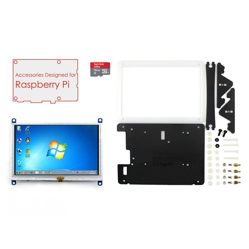ФОТО Raspberry Pi Accessory Pack with 5 inch HDMI LCD Display Support Mini PC& Raspberry Pi 3 B/2 B With Case&16GB Micro SD Card