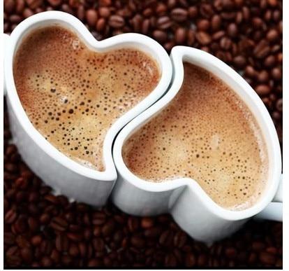Free shipping 1 pair creative white heart shape mug cups, ceramic coffee couple mugs, girl/boy friend birthday gift gift for boyfriend on anniversary