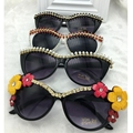 Big Designer Handmade Vintage Cat Sungalsses  Pearl&Flower&Rhinestone Luxury ladies Sunglasses Beach&Party Women Sunglasses
