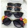 Grande desenhador do vintage feitos à mão cat sungalsses pearl & flower & strass luxo senhoras óculos de sol praia & party óculos de sol das mulheres