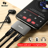 Benks 3 in 1 Adapter For Lightning Splitter Charger Adapter For iPhone X XS 7 8 Plus Headphone Charger Audio 3.5mm Earphone Jack