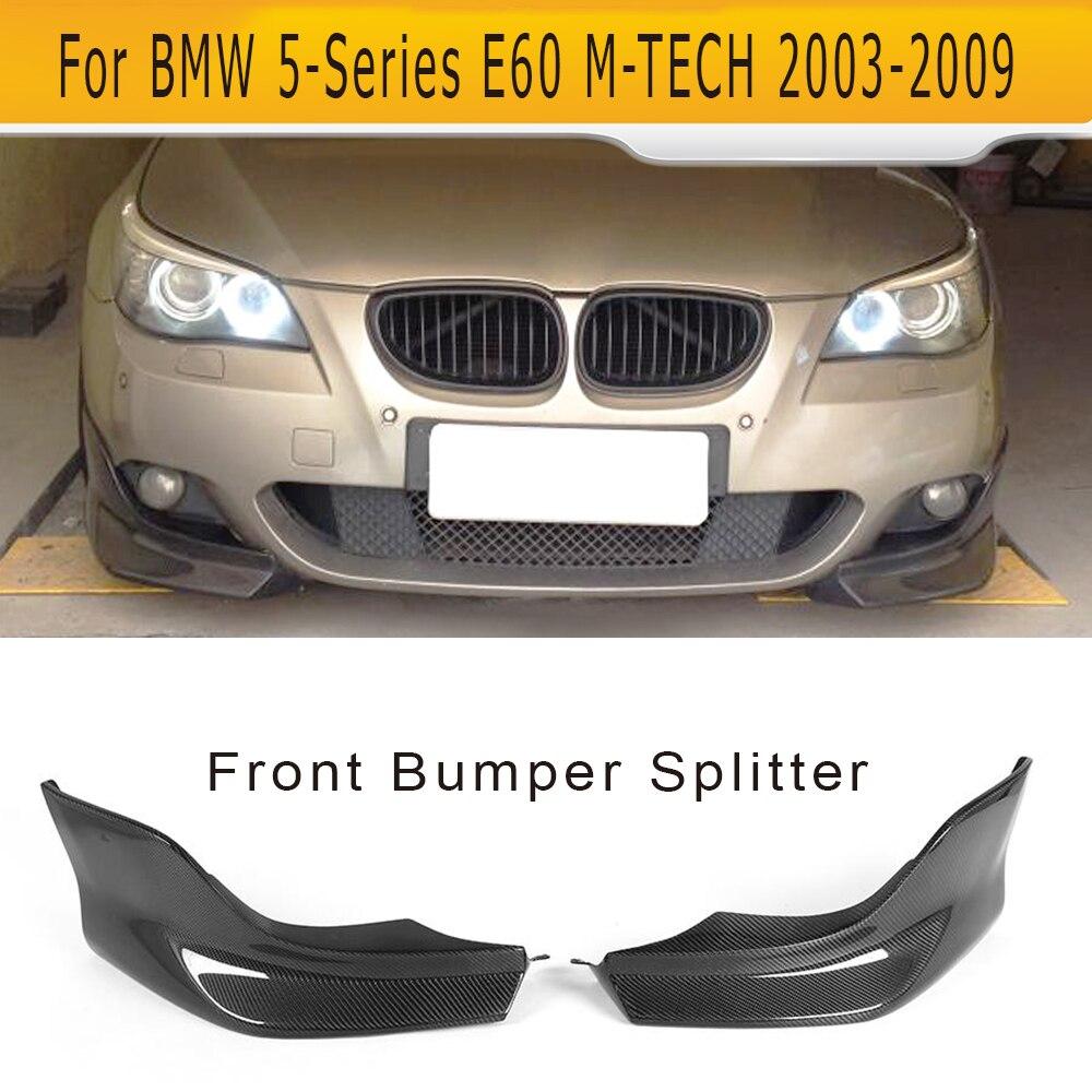 Carbon fiber front bumper lip splitters spoiler flaps apron for BMW 5 Series E60 M Sport Sedan 4 Door 04-10 520i 525i 530i